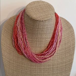 Thick beaded choker necklace pinks mult strand